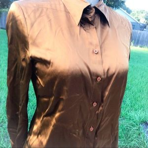 Moda Tops - Moda International Silk Long Button Down Shirt
